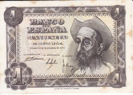 BILLETE DE ESPAÑA DE 1 PTA DEL AÑO 1951 SIN CIRCULAR EL QUIJOTE  SERIE G (UNCIRCULATED) CON MANCHAS - [ 3] 1936-1975 : Régimen De Franco