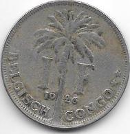 *belgium Congo 1 Franc  1926 Dutch Km 21   Vf - 1910-1934: Albert I
