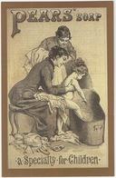 Pear's Soap C. 1890 - 'A Specialty For Children' - Bath Night  - (Nostalgia Postcard) - Reclame