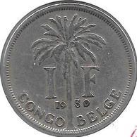 *belgium Congo 1 Franc  1930 French  Km 20   Vf - 1910-1934: Albert I
