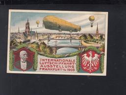Dt. Reich PK Int. Luftschiffahrtausstellung Frankfurt Am Main 1909 Gelaufen - Zeppeline