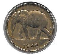 *belgium Congo 1 Franc  1946  Km 26   Vf - Congo (Belgian) & Ruanda-Urundi