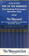 Lucifermapje. The Warwick Club. HOUSTON, TEXAS. Matchbook. Pochette D'Allumettes, Luciferdoos. - Luciferdozen