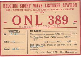 Ancienne QSL De ONL 389 Joseph Geerinck, Rue Au Lait, Machelen (juillet 1949) - Radio Amateur