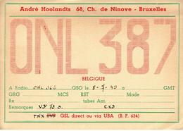 Ancienne QSL De ONL 387, André Hoolandts, Chaussée De Ninove, Bruxelles (8/7/1949) - Radio Amateur