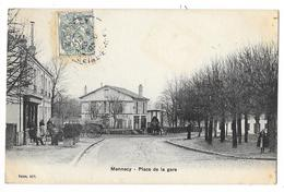 Cpa: 91 MENNECY (ar. Evry) Place De La Gare (Café De La Gare Animé) 1907 - Mennecy