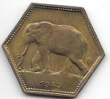 *belgium Congo 2 Francs  1943  Km 25   Xf+ !!!! - Congo (Belgian) & Ruanda-Urundi