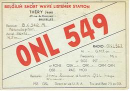 Ancienne QSL De ONL 549, Jean Théry, Rue Du Croissant, Bruxelles (26/11/1947) - Radio Amateur