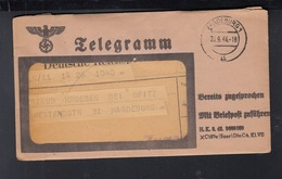 Dt. Reich Telegramm Bereits Zugesprochen 1944 - Germany