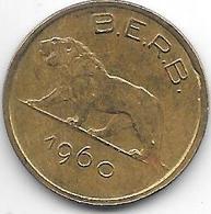 *belgium Congo Rwanda Burundi 1 Franc  1960  Km 1 Vf+ - Congo (Belgian) & Ruanda-Urundi