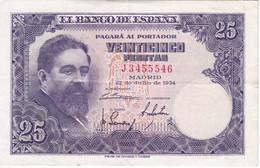 BILLETE DE ESPAÑA DE 25 PTAS DEL AÑO 1954 SERIE J EN CALIDAD MBC (VF)(BANKNOTE) - 25 Pesetas