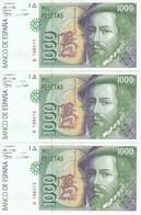 TRIO CORRELATIVO DE 1000 PTAS DEL AÑO 1992 SERIE B SIN CIRCULAR - UNCIRCULATED - [ 4] 1975-… : Juan Carlos I