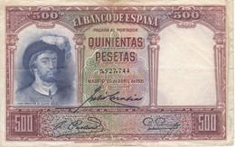 BILLETE DE ESPAÑA DE 500 PTAS DEL AÑO 1931 SIN SERIE CALIDAD  RC - 500 Pesetas