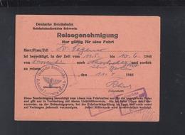 Dt. Reichsbahn Reisegenehmigung Schwerin 1946 - Historische Dokumente