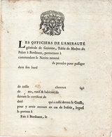 Permission De Prise De Passagers Par Les Officiers De L' Amirauté Générale De Guienne...Imprimé Vierge    (107635) - Otros