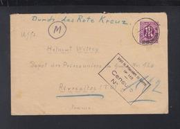 Alliierte Besetzung Rotes Kreuz Brief 1945 An Depot Prisonniers De Guerre Frankreich France Rivesaltes - Bizone