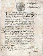 """Permission De Prise De Marchandise Par Les Officiers De L' Amirauté De Guienne..- Vaisseau """"La Reine De Thoram"""" (107636) - Titres De Transport"""