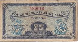 BILLETE DE ESPAÑA DE 25 CTS DEL CONSEJO DE ASTURIAS Y LEON (BANKNOTE) - [ 2] 1931-1936 : Republic