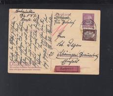 Dt. Reich Rohrpost Zum Bahnhof PK 1945 Berlin Nach Schöningen - Briefe U. Dokumente