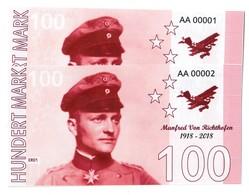Germany 100 Mark 1918-2018 Manfred Von Richtofen (Red Baron) Fantasy Commemorative - Price For 1 Banknote - Germania