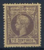 Fernando Po 1902 Mi. 109 Nuovo ** 100% Re Alfonso XIII, 75 C - Fernando Po