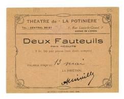 BILLET TICKET D'ENTREE THEATRE DE LA POTINIER 1923 VALABLE POUR DEUX FAUTEUILS - Tickets D'entrée