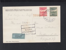 Czechoslovakia Air Mail PC 1937 - Briefe U. Dokumente