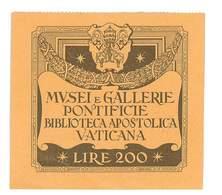 TICKET D'ENTREE BIBLIOTHEQUE APOSTOLIQUE DU VATICAN - Tickets - Vouchers