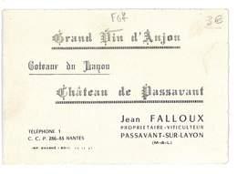 CALENDRIER 1961 PUB CHATEAU DE PASSAVANT JEAN FALLOUX VITICULTEUR COTEAUX DU LAYON - Calendars