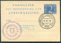 1949 Netherlands Stationery Postcard. Utrecht Jaarbeurs, Marshall Plan - Period 1949-1980 (Juliana)