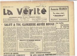 La Vérité ( Journal Régional Du Parti Communiste Français ) Du 1er Mars 1946 - Armée Rouge - Journaux - Quotidiens