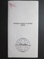 """Cie Gle Transatlantique """" Voyage Autour Du Monde """" Paquebot France -1972 - Plaquette Philatélique Oblitérée - Numérotée - Boats"""