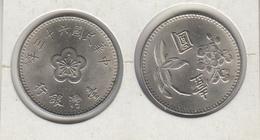 TAIWAN  1 Dollar (yuan) Année 63 = 1974   年三十六國民華中   Y#536 - Taiwan
