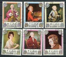 Ras Al Khaima Ob Michel N° 642 A à 647 A - Wolfgang Amadeux Mozart - - Ra's Al-Chaima