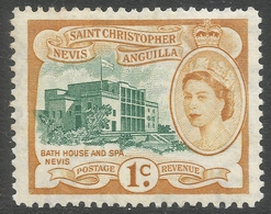St Kitts-Nevis. 1954-63 QEII. 1c MH. SG 107 - St.Christopher-Nevis-Anguilla (...-1980)