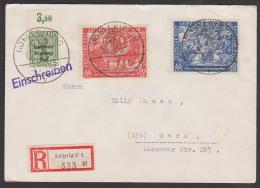 Leipziger Frühjahrsmesse Messe 1949, Italiener Auf Der Messe  SBZ 230/31, R-Brief , Mit SBZ-Berliner Bär, Rs Eingangsst. - Soviet Zone