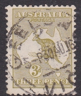Australia SG 37 1915 Kangaroo,3d Yellow Olive, Used - 1913-48 Kangaroos