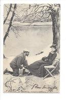 20081 - Couple D'Amoureux Au Bord De L'eau Et Dans La Neige Homme Implorant Madame Assise Sur Une Chaise Scolik, Wien - Couples