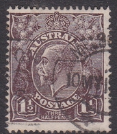 Australia SG 54 1919 King George V,three Half Penny Black Brown, Large Multiple Watermark, Used - 1913-36 George V: Heads