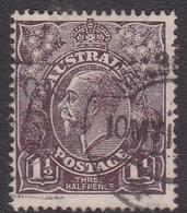 Australia SG 54 1919 King George V,three Half Penny Black Brown, Large Multiple Watermark, Used - Used Stamps