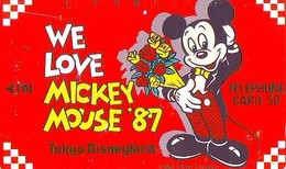 Télécarte Japon / 110-33345 - DISNEY - TOKYO DISNEYLAND - WE LOVE MICKEY * 1987 (6392) Japan Phonecard - Disney