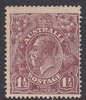 Australia SG 55a 1920 King George V,three Half Penny Chocolate, Large Multiple Watermark, Mint Hinged - 1913-36 George V: Heads