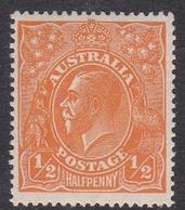 Australia SG 56 1923 King George V,half Penny Orange, Single Watermark, Invented, Mint Never Hinged - Mint Stamps