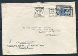 1934 Australia Sydney Advertising Slogan Cover. Swiss Consulate - Zurich Switzerland - 1913-36 George V : Other Issues