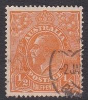 Australia SG 56 1923 King George V,half Penny Orange, Single Watermark, Used - 1913-36 George V : Têtes