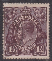 Australia SG 58 1918 King George V,Three Half Penny Black Brown,Single Watermark, Used - 1913-36 George V: Heads