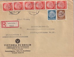 ALLEMAGNE 1939 LETTRE RECOMMANDEE DE TEPLITZ-SCHÖNAU AVEC CACHET ARRIVEE LUZERN - Covers & Documents