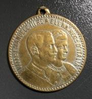 Antica Medaglia VITTORIO EMANUELE III / ELENA Regina D'ITALIA + STEMMA - Royal/Of Nobility