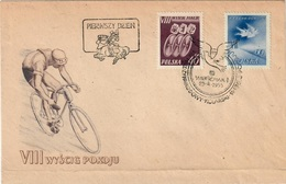 POLAND 1955 - VIII INTERNATIONAL CYCLING RACE FOR THE PEACE - WARSZAWA / BERLIN / PRAHA - FDC 29.4.1955 - SCOTT #620/621 - Cycling
