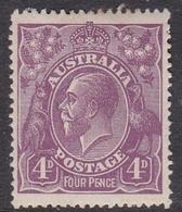 Australia SG 64 1921 King George V,4d Violet,Single Watermark, Mint Hinged - Mint Stamps